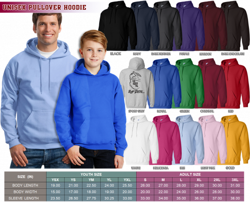 Unisex Pullover Hoodie 494x400 - Size Chart